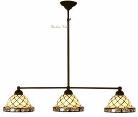 1136 Hanglamp B90cm met 3 Tiffany kapjes Ø26cm Filigrees