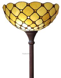LT16668 Vloerlamp Uplight Bruin H184cm met Tiffany kap Ø40cm Golden Pearl