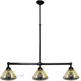 9004 Hanglamp B90cm met 3 Tiffany kappen Ø26cm Blue-Oyster