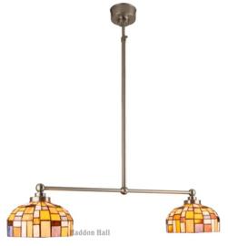 Gp1 10 Hanglamp Nikkel met 2 Tiffany kappen Ø20cm Iglo Color