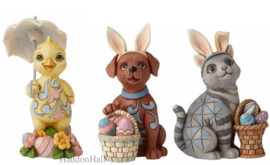 Chick - Dog & Cat - Set van 3 Easter Mini Animals - Jim Shore