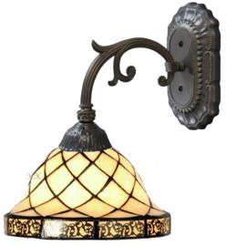 1136 Wandlamp Grijs met Tiffany kap Ø26cm Filigrees