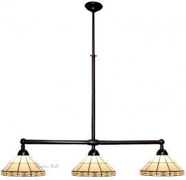 3087 Hanglamp B90cm met 3 Tiffany kappen Ø32cm Serenity