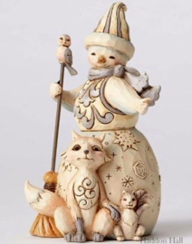 Flurry of Friends - H13cm White Woodland Snowman Jim Shore 4053698