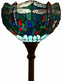 "T9S-V5495 Vloerlamp Uplicht H176cm met Tiffany kap Ø30cm ""Blue Dragonfly"
