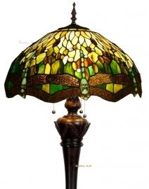 TP1L  Vloerlamp Tiffany H164cm Ø53cm Green Dragonfly Bolling in de Voet