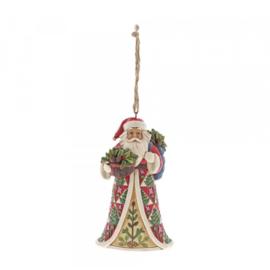 """Santa with Pinecone Basket"" H30cm + Hanging Ornament  Jim Shore"