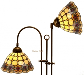 8828 Vloerlamp Rond met 2 Tiffany kappen