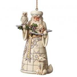 """White Woodland Santa & Snowman"" Set van 2 Jim Shore Hanging Ornament"