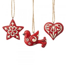 Nordic Noel - Set van 3 Hanging Ornaments Jim Shore 6004233