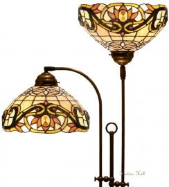 5776 Vloerlamp Half Rond met 2 Tiffany kappen Ø30cm Pendragon
