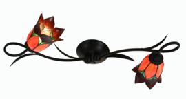 7908 Wandlamp B80cm met 2 Tiffany kappen Ø15cm Lovely Flower