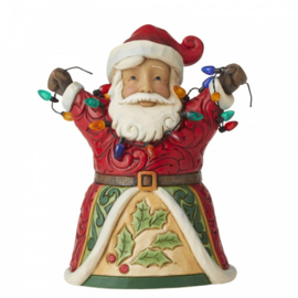 Jolly Santa with Arms Up Holding String of Lights Pint-Sized H13cm Jim Shore 6006655