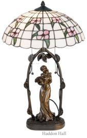 5191 Tafellamp Jugendstil Dame met Tiffany kap Ø41cm Primula