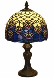 "z1117 9323 Tafellampje Tiffany H34cm Ø20cm ""Pauw"" motief"