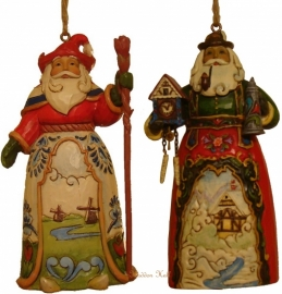 Set van 2 Hanging ornament  Dutch Santa  &  German Santa nr. 4022938 + 4034400