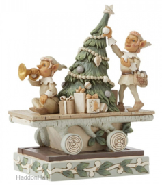 White Woodland Elves with Animals Train H20cm Jim Shore 6008859