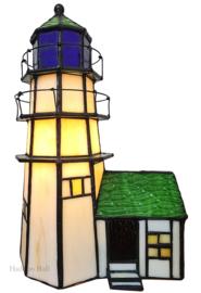 6007 Tiffany lamp H25cm Vuurtoren met Huisje
