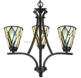 73093 Hanglamp Ø50cm met 3 Tiffany kappen Ø13cm Astoria