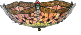 5415 80 Plafonniere Tiffany Ø40cm Red Green Dragonfly 2xE27