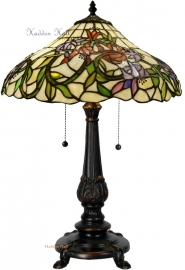 5809 5768 Tafellamp Tiffany H59cm Ø40cm fuchsia motief
