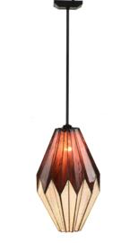8158 Hanglamp Zwart met Tiffany Ø28cm Origami