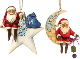 "Set van 2 Hanging ornament ""Santa On Star"" & ""Crescent Moon Santa"" Jim Shore"