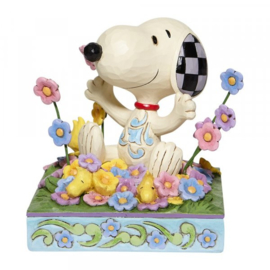 Snoopy in Bed of Flowers H12cm Jim Shore 6007965