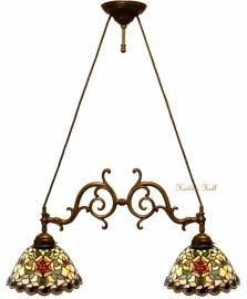 9114 Hanglamp met 2 Tiffany kappen Ø26cm Santana