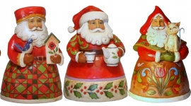 "Set van 3 Pint Santa's H13cm ""Cozy"", ""Cup"" & Purrfect Christmas"" Jim Shore"