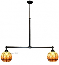 5316 Hanglamp B90cm met 2 Tiffany kapjes Ø27cm