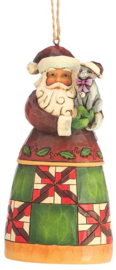 Set van Jim Shore Santas Hanging Ornament - Santa with Cat - Santa in Air Balloon