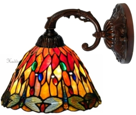 7808 3090  8829 Wandlamp met Tiffany kap Ø25cm Red Glass Dragonfly