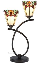 5966 Tafellamp Uplight H57cm met 2 Tiffany kappen Ø15cm Stricta