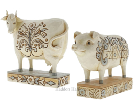 Set van 2 Jim Shore White Farmhouse figurines Cow & Pig