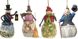 Set van 4 Jim Shore Sneeuwpoppen Hanging Ornament H13cm