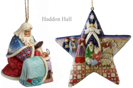 "Set van 2 Jim Shore Hanging Ornament ""Santa w. Baby Jesus"" & ""Nativity Star"""