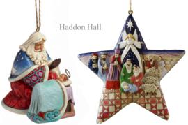 "Set van 2 Jim Shore Hanging Ornament ""Santa w. Baby Jesus"" & ""Nativity Star"""