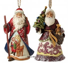 Set van 2 Jim Shore Hanging ornament H12cm Lapland & Victorian Santa