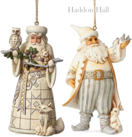 """White Woodland Santa's"" H12cm Set van 2 Jim Shore Hanging Ornaments"