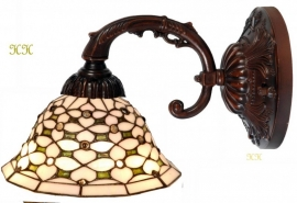 505 Wandlamp bruin met Tiffany kap Ø26cm  Jewel