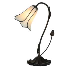 6046 Bureaulamp Tafellamp Tiffany H43 Ø17cm White Tulip