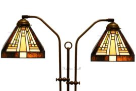 7904 Vloerlamp Boog Dubbel met 2 Tiffany kappen 18x18cm Rising Sun