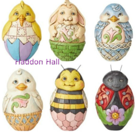 Holiday Eggs Set van 6 Jim Shore eieren 6003620 uit 2016 handpainted