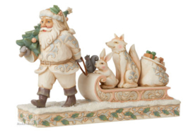 White Woodland Santa Pulling Sled with Animals H17,5cm Jim Shore 6008861