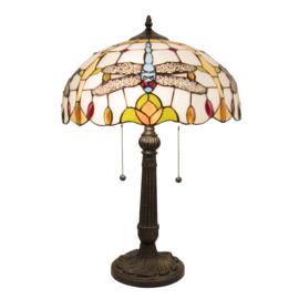 5945 Tafellamp Tiffany H60cm Ø40cm Dragonfly Mavi