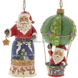 Set van 2 Hanging ornament  Joy to the World - Santa in  Air Balloon - Jim Shore