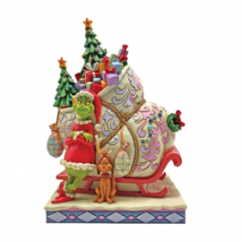 Grinch Standing infront of Sleigh - H21,5cm - Jim Shore 6008884