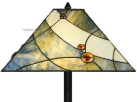 7989 Vloerlamp Zwart H164cm met Tiffany kap 44x44cm Sky Blue