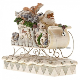 """Woodland Santa in Sleigh"" H23cm B26cm Jim Shore 6001410"